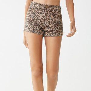 Leopard High Rise Jean Shorts